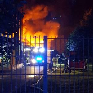 Großbrand einer Lagerhalle in Goldenstedt