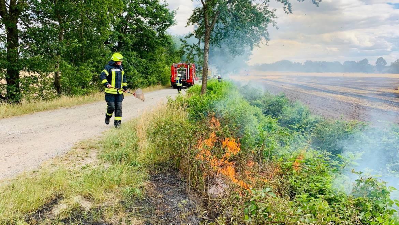 Größerer Flächenbrand entlang der Autobahn