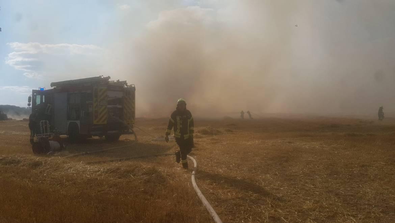 Landwirtschaftliche Fläche brennt